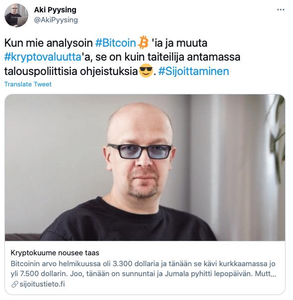 Aki Pyysing sijoittaa bitcoiniin